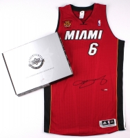 LeBron James Signed LE Miami Heat Authentic Adidas Alternate Jersey with Back to Back Finals MVP Patch #6/25 (UDA COA) at PristineAuction.com