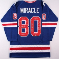 """1980 Team USA Hockey """"Miracle on Ice"""" Jersey Team-Signed by (19) with Mike Eruzione, Jim Craig, Ken Morrow, Jack O'Callahan, Rob McClanahan, Dave Silk, Buzz Schneider, Mark Wells, Neal Broten, Phil Verchota (JSA COA) at PristineAuction.com"""