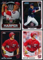 Lot of (4) Bryce Harper Baseball Cards with 2013 Topps #1, 2013 Topps Chrome #220A, 2012 Bowman Chrome #214 RC & 2011 Bowman Chrome Retail Exclusive #BCE15 at PristineAuction.com