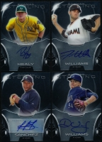 Lot of (4) 2013 Bowman Sterling Prospects Autographs Baseball Cards with Trevor Williams, Victor Sanchez, Ryon Healy & Devin Williams at PristineAuction.com
