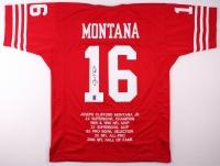 Joe Montana Signed 49ers Career Highlight Stat Jersey (GTSM) at PristineAuction.com