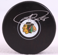 Andrew Shaw Signed Blackhawks 2013 Stanley Cup Logo Hockey Puck (Schwartz COA) at PristineAuction.com