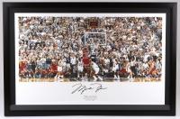 "Michael Jordan Signed Bulls 27x41 Custom Framed ""The Last Shot"" Display (UDA COA) at PristineAuction.com"