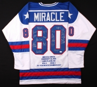 """1980 Team USA Hockey """"Miracle on Ice"""" Jersey Signed by (19) with Mike Eruzione, Jim Craig, Ken Morrow, Jack O'Callahan, Rob McClanahan, Dave Silk, Buzz Schneider, Mark Wells, Neal Broten, Phil Verchota (JSA COA) at PristineAuction.com"""