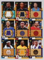 Lot of (9) 2004-05 Upper Deck Hardcourt Materials Insert Cards with #SO Shaquille O'Neal, #AI Allen Iverson, #CA Carmelo Anthony, #MB Mike Bibby, #BD Baron Davis, #CB Carlos Boozer, #SH Shawn Marion at PristineAuction.com