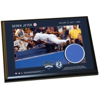 Derek Jeter Moments: 'The Dive' 5X7 Photo Plaque with Game-Used Yankee Stadium Wall Panel (MLB) at PristineAuction.com