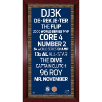 """Derek Jeter Yankees """"The Captain"""" Framed 16x32 Subway Sign Wall Art With Game-Used Dirt from Yankee Stadium (MLB) at PristineAuction.com"""