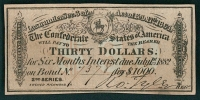 Authentic 1864 Confederate States of America Thirthy Dollar C.S. Loan War Bond Coupon at PristineAuction.com