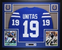 "Johnny Unitas Signed Colts 35"" x 43"" Custom Framed Jersey (PSA LOA) at PristineAuction.com"
