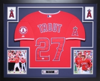 """Mike Trout Signed Angels 35"""" x 43"""" Custom Framed Jersey (PSA COA)"""