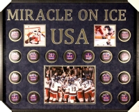 "1980 Team USA Signed ""Miracle on Ice"" 33x41x2 Custom Framed Hockey Puck Shadowbox with (17) Signatures Including Mike Eruzione, Jim Craig, Ken Morrow, Jack O'Callahan, Rob McClanahan, Dave Silk, Buzz Schneider (JSA COA)"