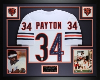 Walter Payton Signed Bears 35x43 Custom Framed Jersey with (5) Career Stat Inscriptions (PSA LOA) at PristineAuction.com
