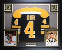"""Bobby Orr Signed Bruins 35"""" x 43"""" Custom Framed Jersey Inscribed """"3x MVP"""" (Great North Road COA) at PristineAuction.com"""