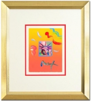"""Peter Max """"Liberty Head"""" Signed Custom Framed 8.5"""" x 11"""" Original Acrylic Mixed Media Painting 1/1 (Framed to 23.5"""" x 26"""") at PristineAuction.com"""