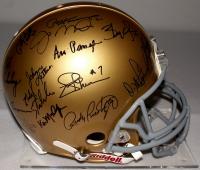 Notre Dame Legends Signed Authentic Proline Helmet with (33) Signatures Including Joe Montana, Paul Hornung, Jerome Bettis, Rocky Belier, Tyler Eifert, Lou Holtz, Tim Brown, Rudy Ruettiger (Fanatics Hologram) at PristineAuction.com