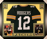 Aaron Rodgers Signed Packers 35x43 Custom Framed Jersey (Steiner) at PristineAuction.com