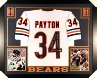 """Walter Payton Signed LE Bears 35x43 Custom Framed Jersey Inscribed """"Sweetness"""" & (4) Career Stat Inscriptions #34/34 (PSA LOA) at PristineAuction.com"""