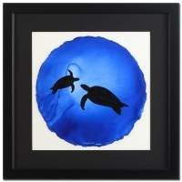 """Wyland """"Turtles"""" Signed 18"""" x 18""""  ORIGINAL Watercolor Painting on Deckle-Edge Paper (Custom Framed to 30"""" x 30"""") at PristineAuction.com"""