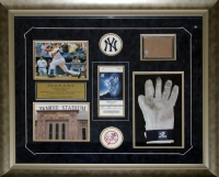 Derek Jeter Yankees 3,000 Hits 28x24 Custom Framed Display With Game-Used Glove & Game Used Dirt at PristineAuction.com