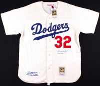 """Sandy Koufax Signed Dodgers Authentic Mitchell & Ness Jersey Inscribed """"59 WS Champs"""" (Steiner COA) at PristineAuction.com"""