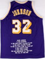 Magic Johnson Signed Lakers Career Highlight Stat Jersey (JSA COA) at PristineAuction.com
