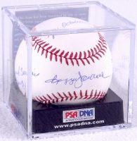 Reggie Jackson Signed OML Baseball with (4) Career Stat Inscriptions - PSA Graded 8 (PSA Encapsulated) at PristineAuction.com