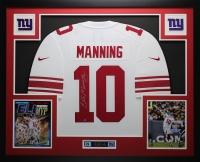 "Eli Manning Signed Giants 35"" x 43"" Custom Framed Jersey (Steiner COA) at PristineAuction.com"