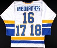 "Dave Hanson, Steve Carlson & Jeff Carlson Signed Hanson Brothers ""Slap Shot"" Chiefs Jersey (JSA COA) at PristineAuction.com"