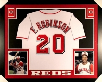 "Frank Robinson Signed Reds 35x43 Custom Framed Jersey Inscribed ""HOF 82"" (JSA COA) at PristineAuction.com"