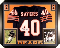 Gale Sayers Signed Bears 35x43 Custom Framed Jersey (JSA COA) at PristineAuction.com