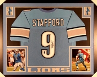 "Matthew Stafford Signed Lions 43"" x 35"" Custom Framed Jersey (GTSM COA) at PristineAuction.com"