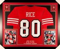 Jerry Rice Signed 49ers 35x43 Custom Framed Jersey (TriStar) at PristineAuction.com