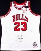 "Michael Jordan Signed LE ""The Shrug"" Bulls Authentic Mitchell & Ness On-Court Jersey #4/23 (UDA COA)"