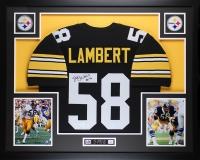 "Jack Lambert Signed Steelers 35"" x 43"" Custom Framed Jersey Inscribed ""HOF 90"" (JSA COA)"
