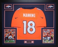"Peyton Manning Signed Broncos 35"" x 43"" Custom Framed Jersey (Steiner COA) at PristineAuction.com"