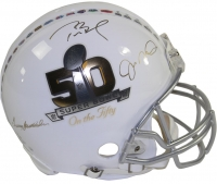 """Multi-Signed LE """"Super Bowl on The 50"""" Full-Size Authentic Proline Helmet with (3) Signatures Including Tom Brady, Joe Montana & Terry Bradshaw (Steiner COA)"""