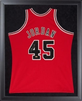 Michael Jordan Signed Bulls 32x44 Custom Framed Authentic Mitchell & Ness #45 Jersey (UDA COA)