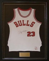 Michael Jordan Signed LE Bulls 31x55 Custom Framed Rookie Jersey (UDA COA) at PristineAuction.com