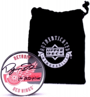 Dylan Larkin Signed Red Wings Signature Hockey Puck (UDA COA) at PristineAuction.com