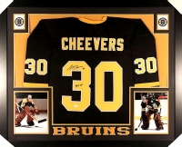 "Gerry Cheevers Signed Bruins 35x43 Custom Framed Jersey Inscribed ""HOF 85"" (JSA COA) at PristineAuction.com"