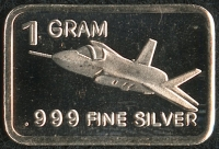 1 Gram .999 Silver F-35 Fighter Bullion Bar at PristineAuction.com