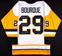 "Phil Bourque Signed Penguins Jersey Inscribed ""Bourquey"", ""2x SC Champs"" & ""Old 29er"" (TSE COA) at PristineAuction.com"