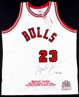 Michael Jordan Signed LE Authentic Mitchell & Ness Custom Embroidered 1984-85 Bulls Rookie Jersey #203/223 (UDA COA)