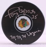 """Tony Esposito Signed Blackhawks Logo Hockey Puck Inscribed """"70, 72 ,74 Vezina"""" (Schwartz COA)"""