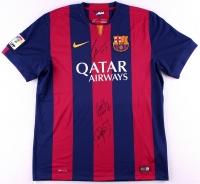 Lionel Messi, Neymar Jr. & Luis Suarez Signed FC Barcelona Home Jersey (Icons COA)