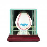 Premium Single Baseball Glass Display Case with Mirrored Cherry Wood Base & Mirrored Back (New)