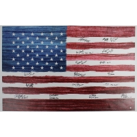 1980 USA Men's Hockey Team Signed 30x46 American Flag Canvas With (16) Signatures (Steiner COA)