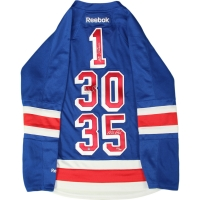 Eddie Giacomin, Henrik Lundqvist, Mike Richter Triple Signed Rangers On-Ice Style Custom Stitched Jersey (Steiner COA)