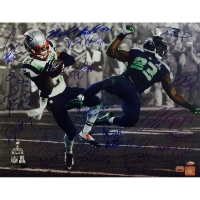 """Team Signed Patriots 16x20 """"Super Bowl 49 Butler Interception"""" Photo with (25) Signatures including Tom Brady, Rob Gronkowski and Malcolm Butler (Steiner COA)"""
