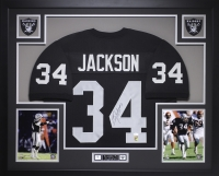 "Bo Jackson Signed Raiders 35"" x 43"" Custom Framed Jersey (JSA COA & GTSM)"
